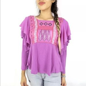 Free People Women's Purple 'La Cienga' Ruffle Top